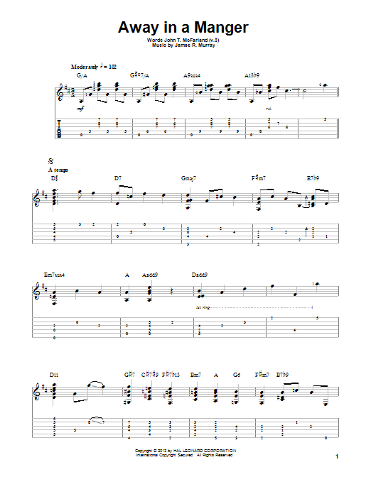 Jake Reichbart Away In A Manger sheet music notes and chords. Download Printable PDF.