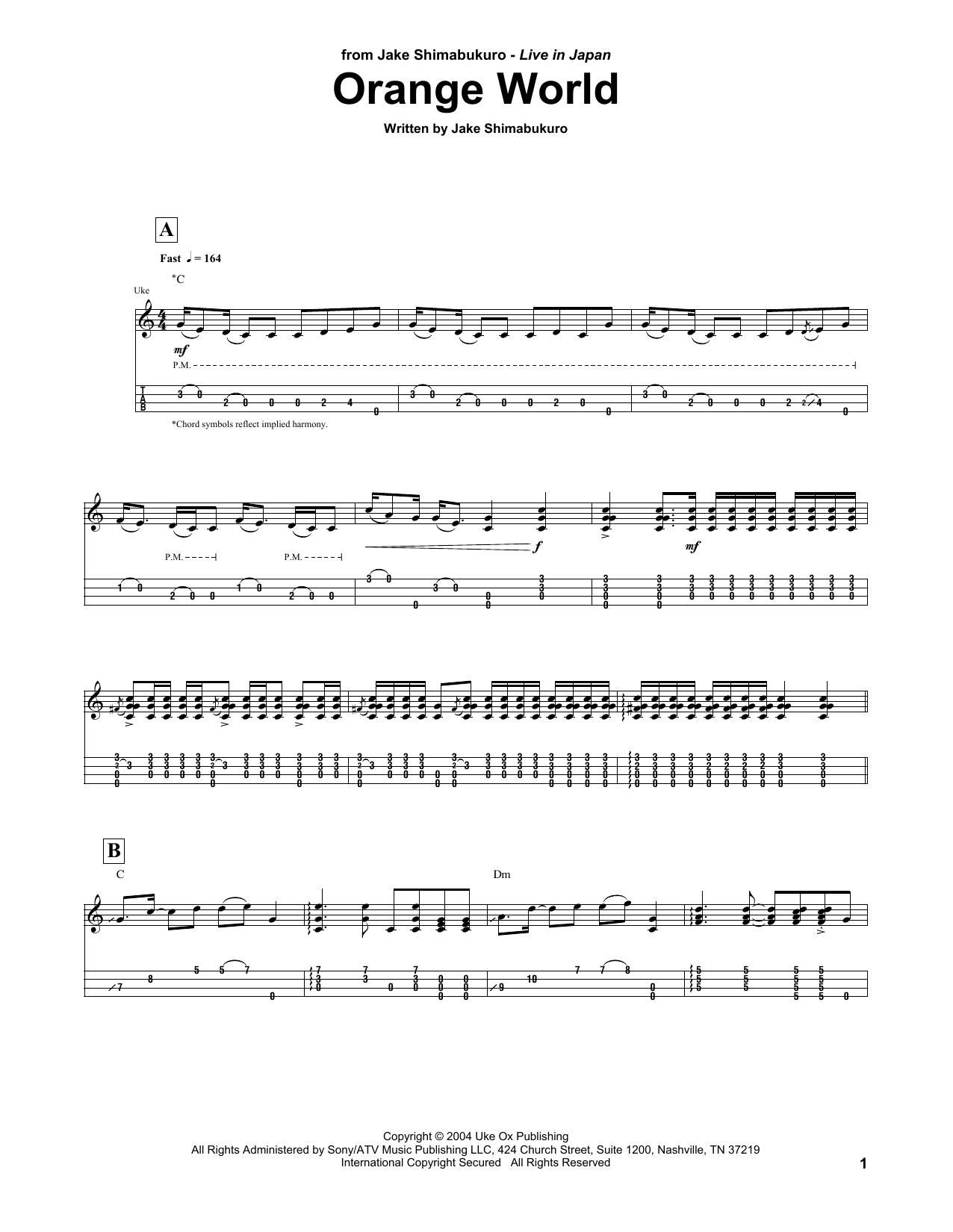 Jake Shimabukuro Orange World sheet music notes and chords. Download Printable PDF.