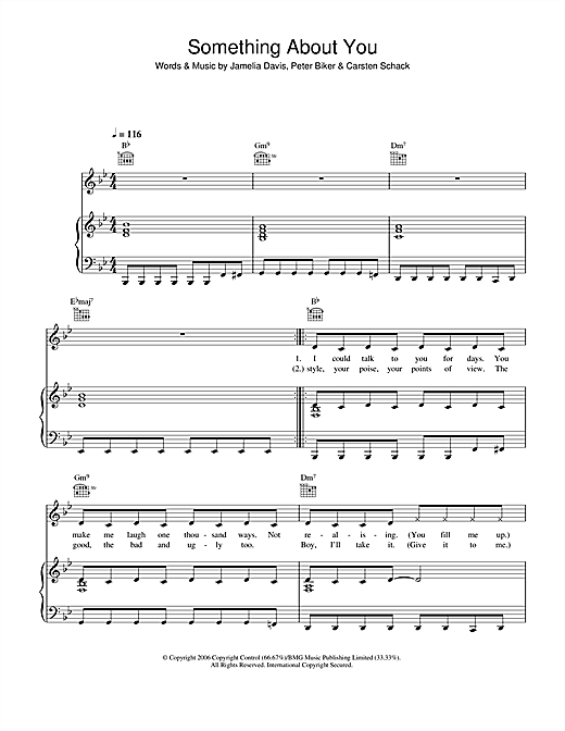 Jamelia Something About You sheet music notes and chords. Download Printable PDF.