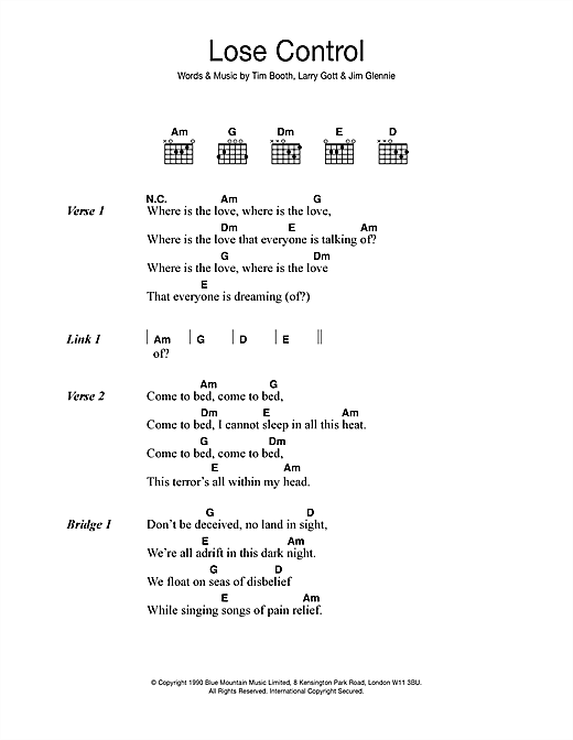 James Lose Control sheet music notes and chords. Download Printable PDF.