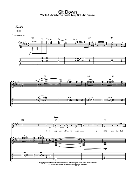 James Sit Down sheet music notes and chords. Download Printable PDF.