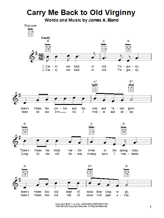 James A. Bland Carry Me Back To Old Virginny sheet music notes and chords. Download Printable PDF.