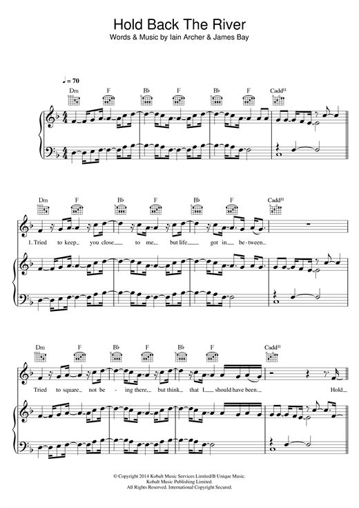 James Bay Hold Back The River sheet music notes and chords. Download Printable PDF.