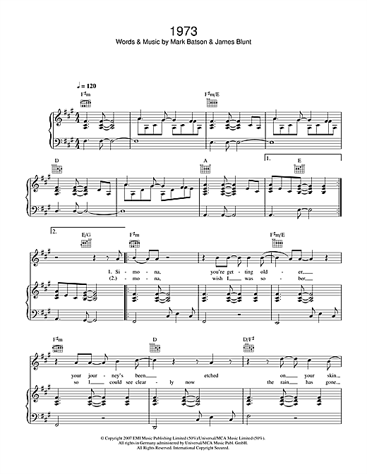 James Blunt 1973 sheet music notes and chords. Download Printable PDF.