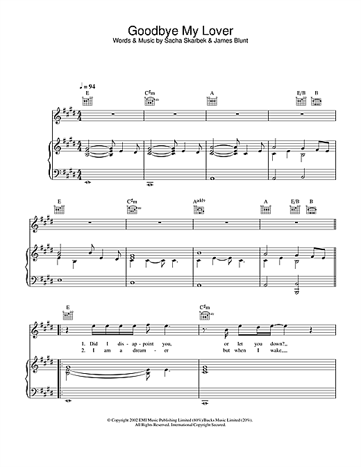 James Blunt Goodbye My Lover sheet music notes and chords. Download Printable PDF.