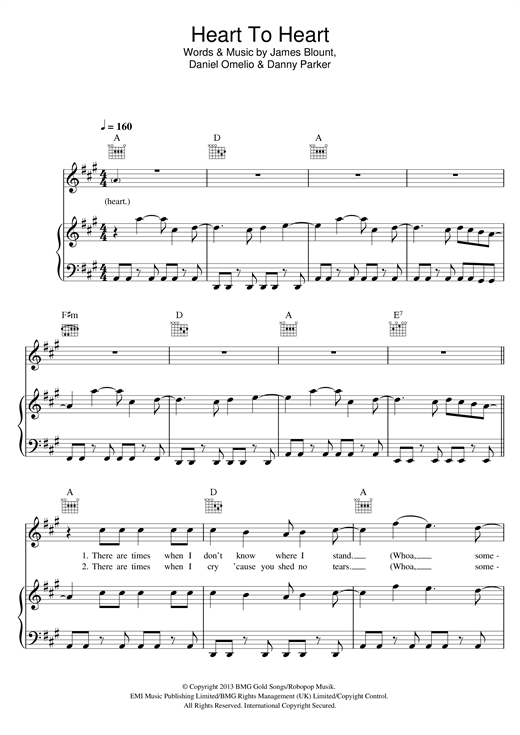 James Blunt Heart To Heart sheet music notes and chords. Download Printable PDF.