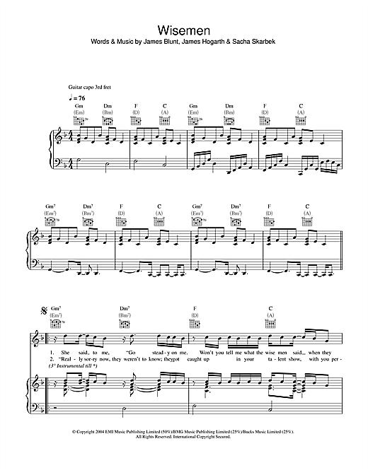 James Blunt Wisemen sheet music notes and chords. Download Printable PDF.