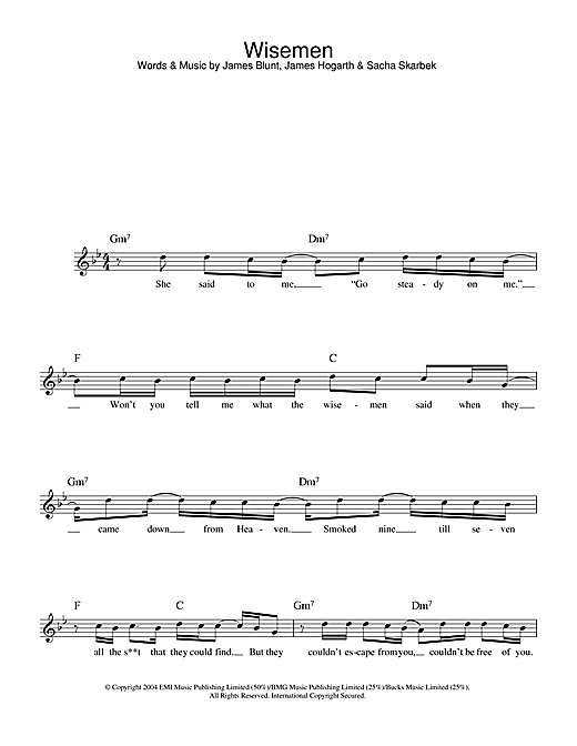 James Blunt Wisemen sheet music notes and chords. Download Printable PDF.