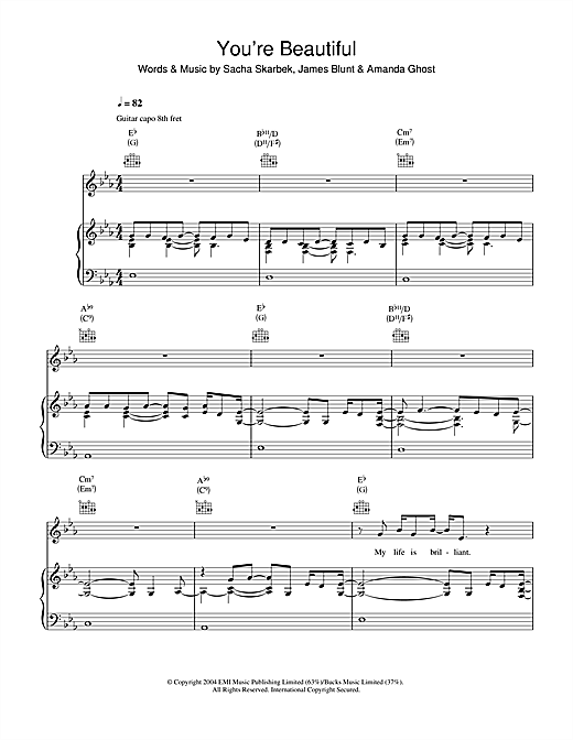 James Blunt You're Beautiful sheet music notes and chords. Download Printable PDF.