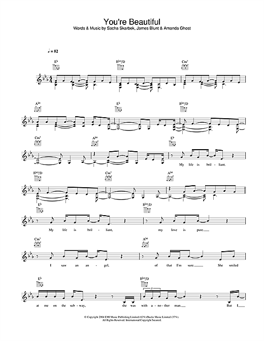 James Blunt You Re Beautiful Sheet Music Pdf Notes Chords Pop Score Guitar Chords Lyrics Download Printable Sku 93655
