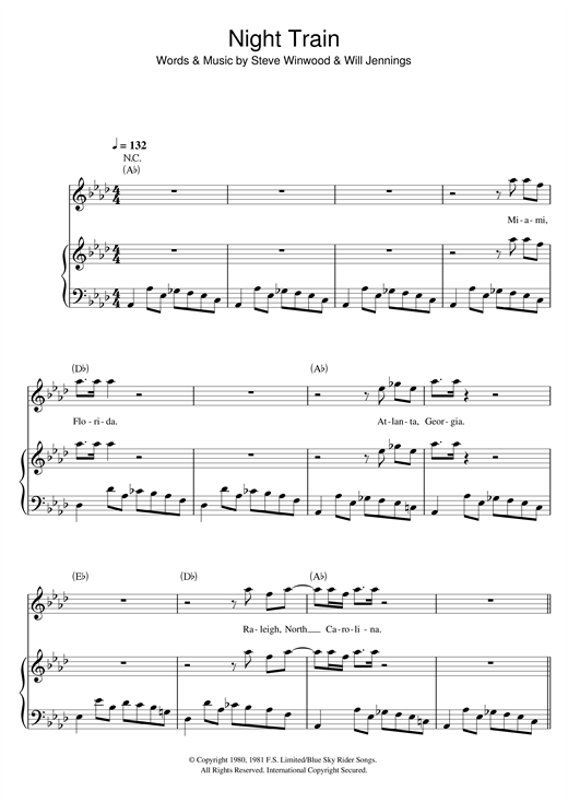 James Brown Night Train sheet music notes and chords. Download Printable PDF.