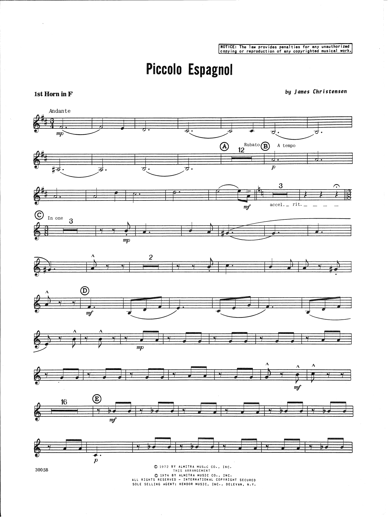 James Christensen Piccolo Espagnol - 1st Horn in F sheet music notes and chords. Download Printable PDF.