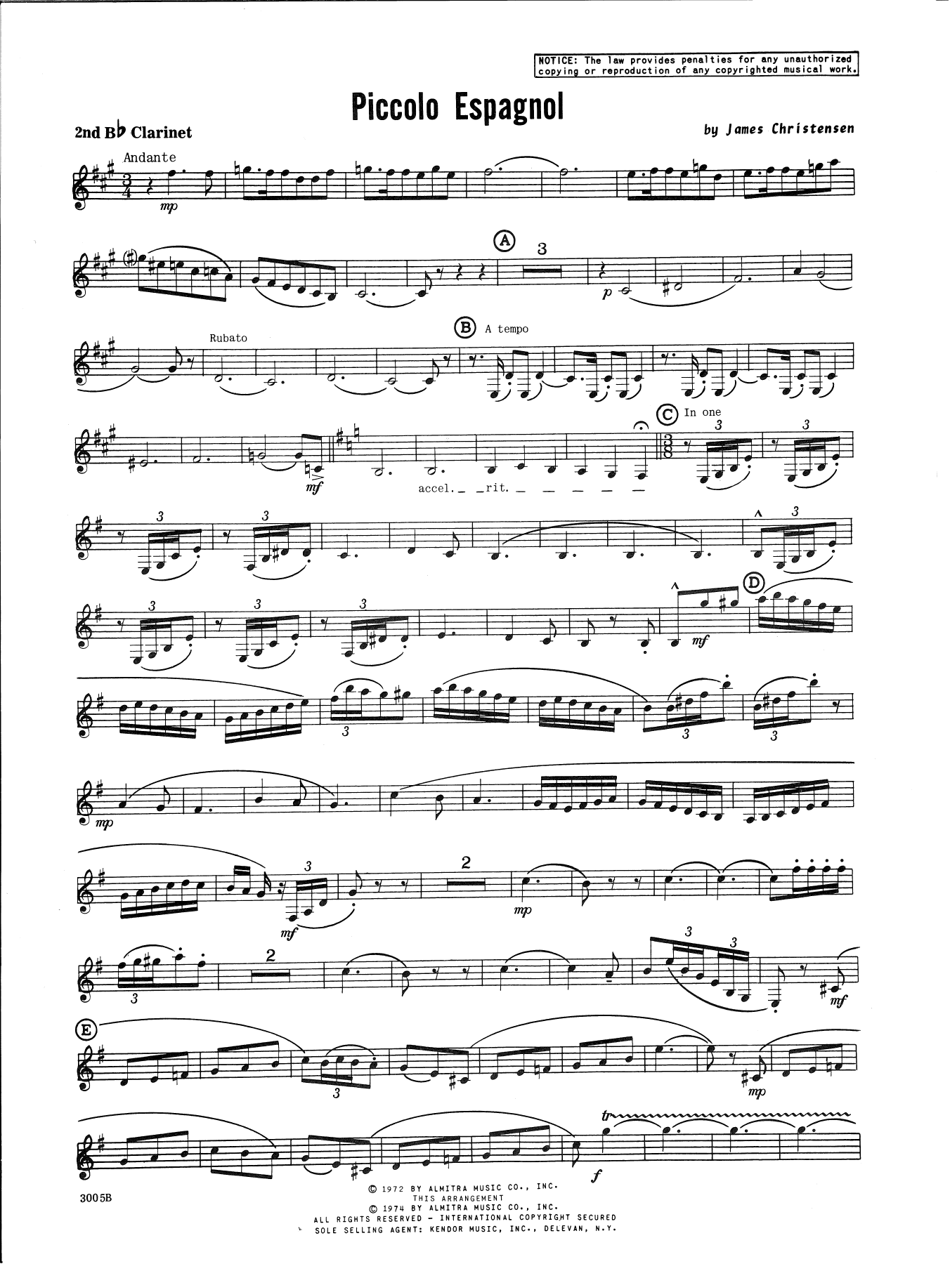 James Christensen Piccolo Espagnol - 2nd Bb Clarinet sheet music notes and chords. Download Printable PDF.