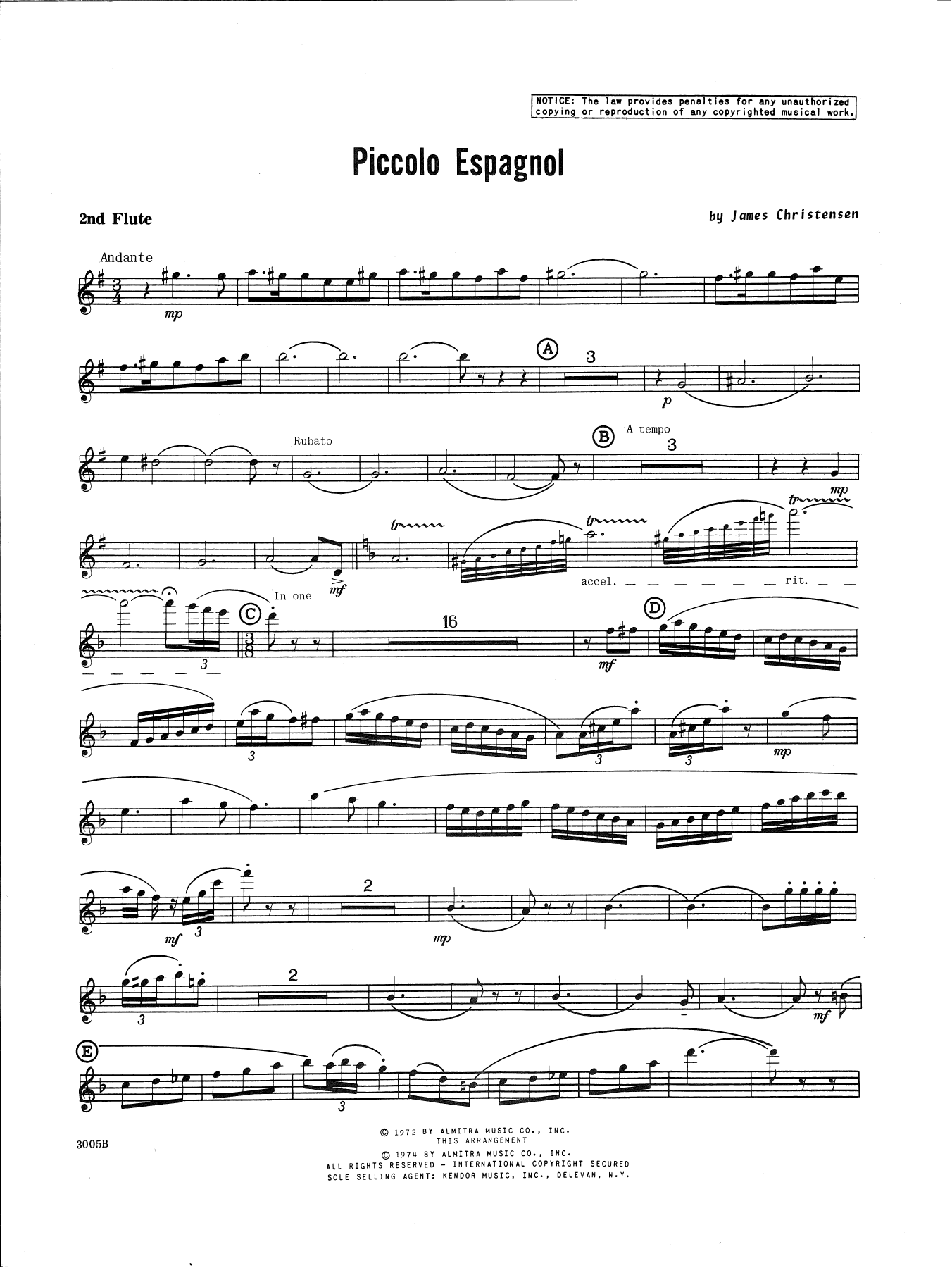James Christensen Piccolo Espagnol - 2nd Flute sheet music notes and chords. Download Printable PDF.