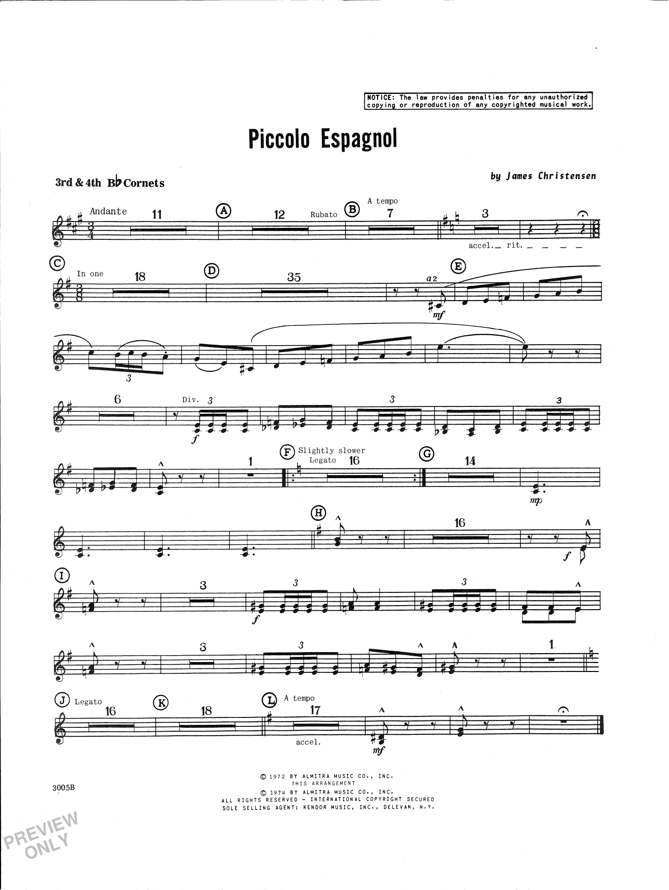 James Christensen Piccolo Espagnol - 3rd & 4th Bb Trumpet sheet music notes and chords. Download Printable PDF.
