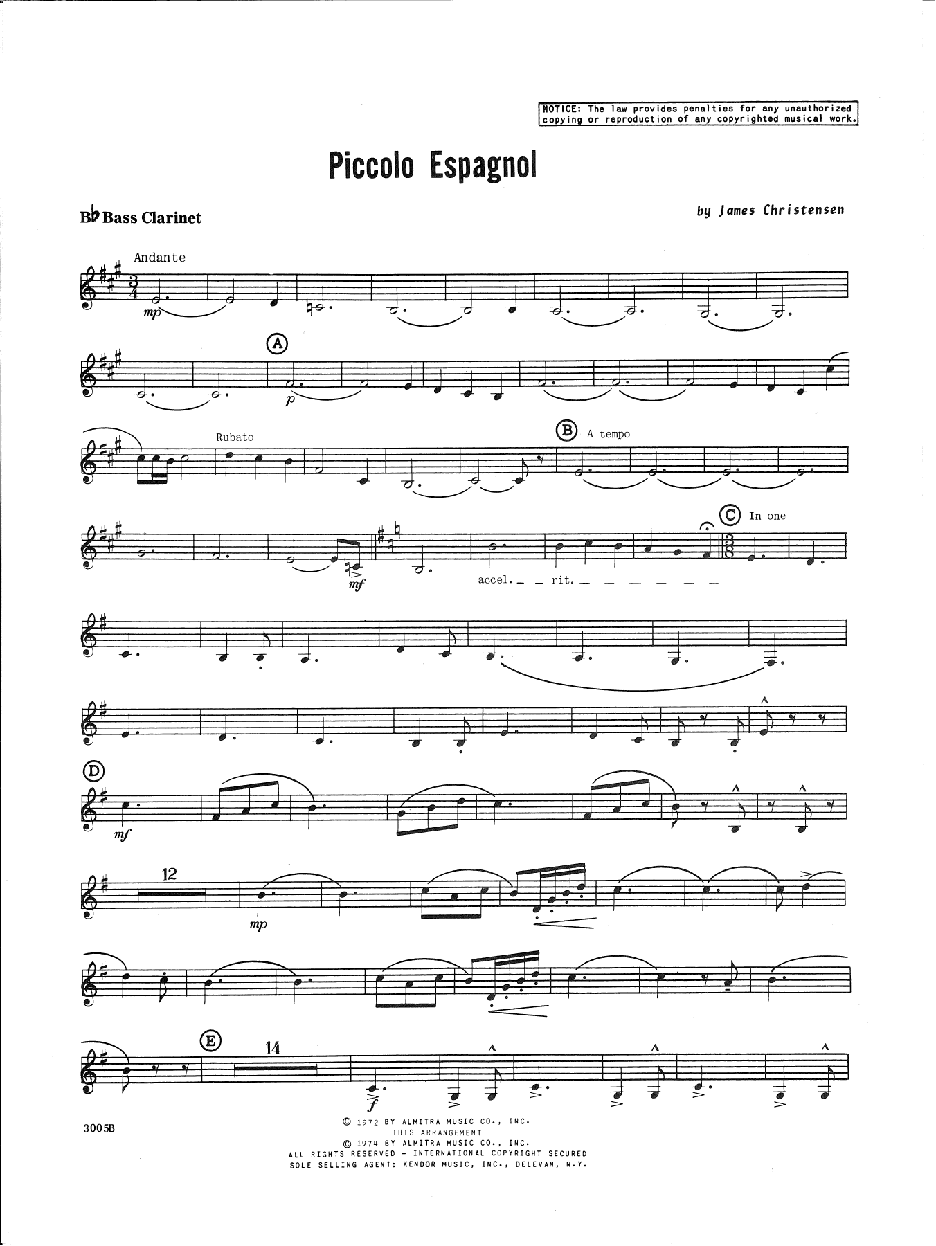 James Christensen Piccolo Espagnol - Bb Bass Clarinet sheet music notes and chords. Download Printable PDF.