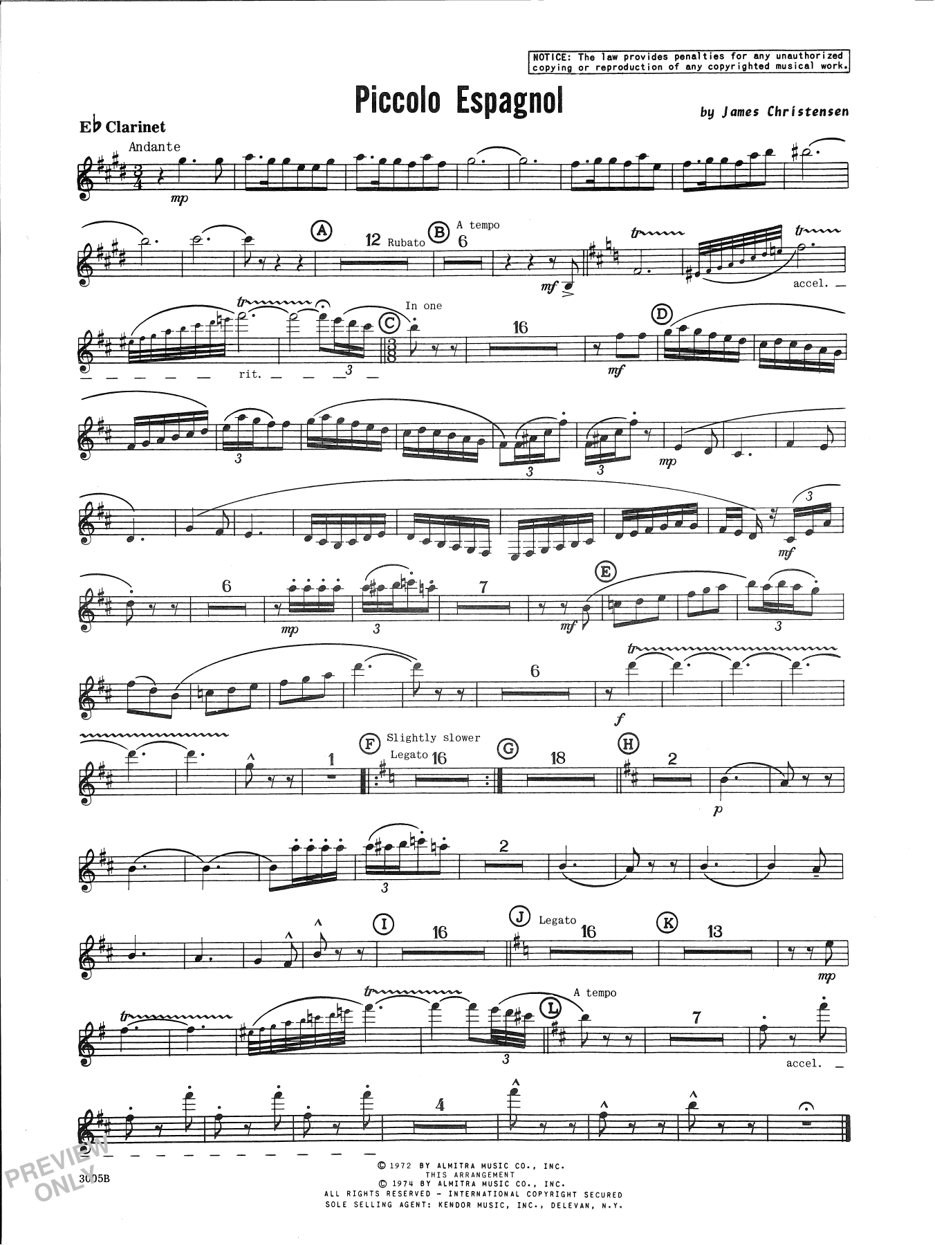 James Christensen Piccolo Espagnol - Bb Clarinet sheet music notes and chords. Download Printable PDF.