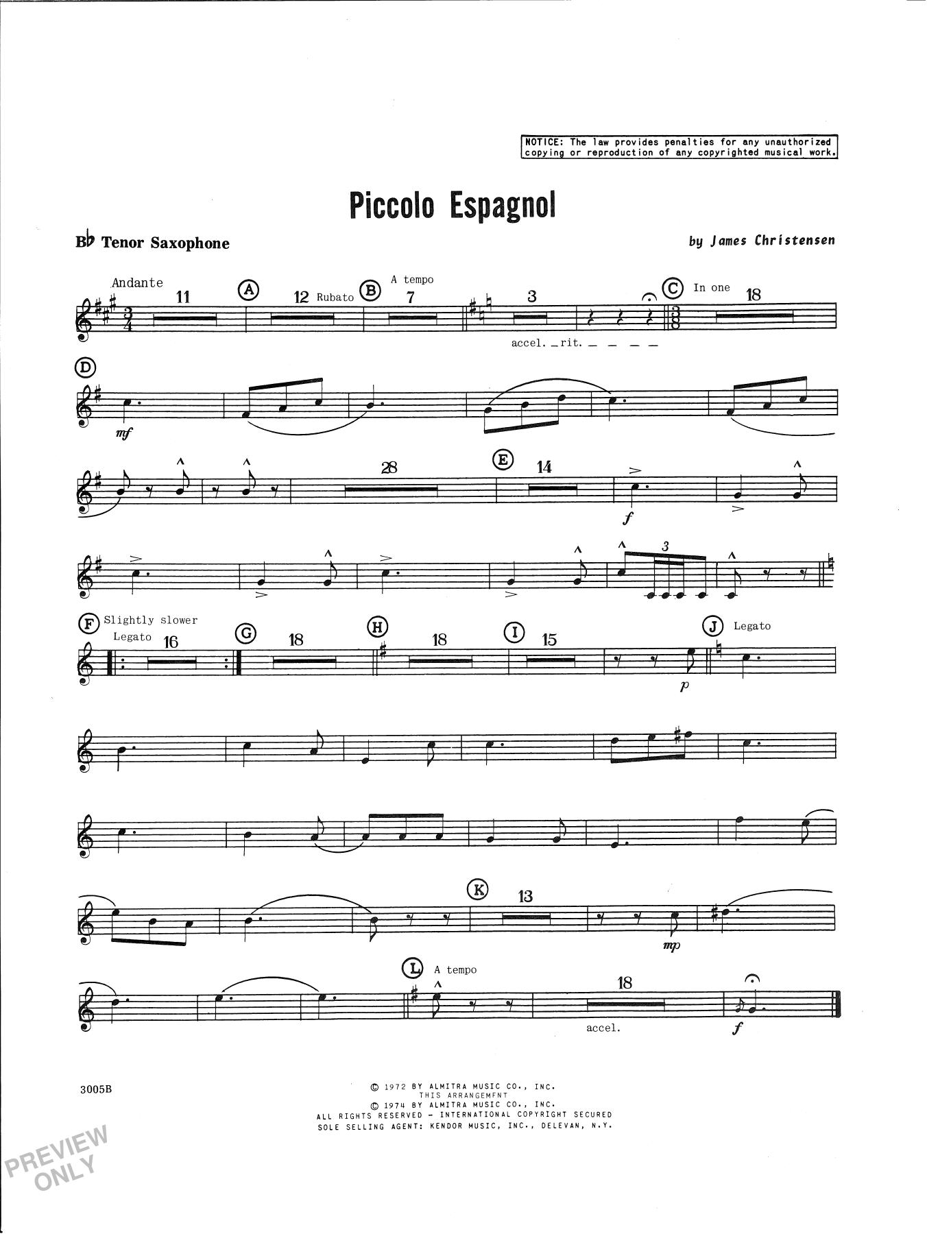 James Christensen Piccolo Espagnol - Bb Tenor Saxophone sheet music notes and chords. Download Printable PDF.