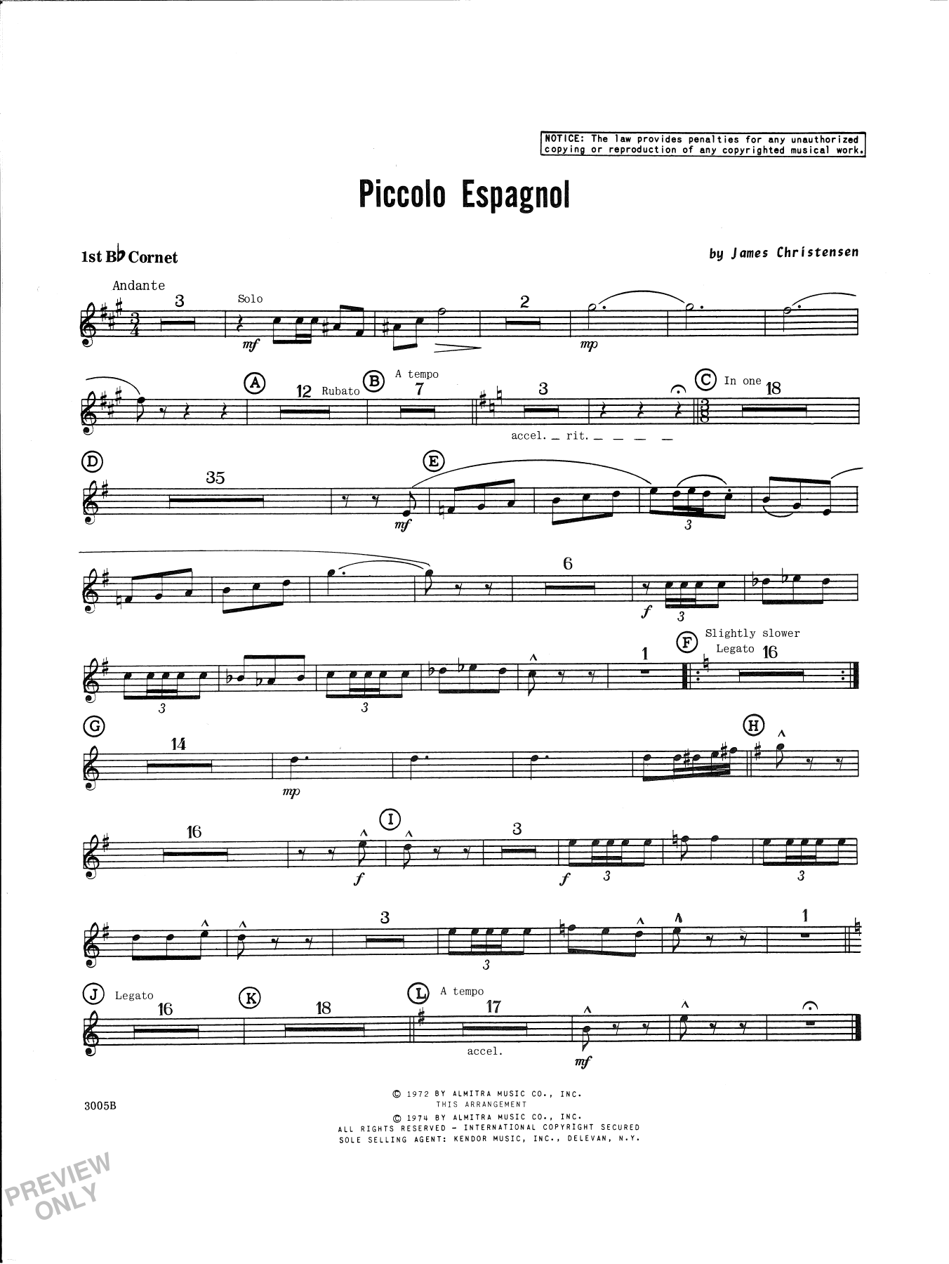 James Christensen Piccolo Espagnol - Cornet 1 sheet music notes and chords. Download Printable PDF.