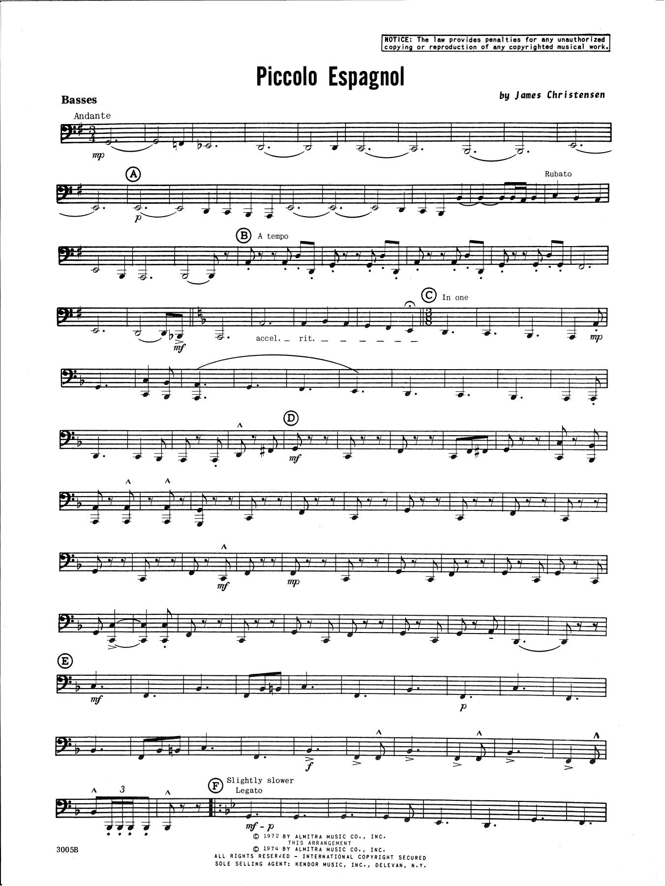 James Christensen Piccolo Espagnol - Tuba sheet music notes and chords. Download Printable PDF.