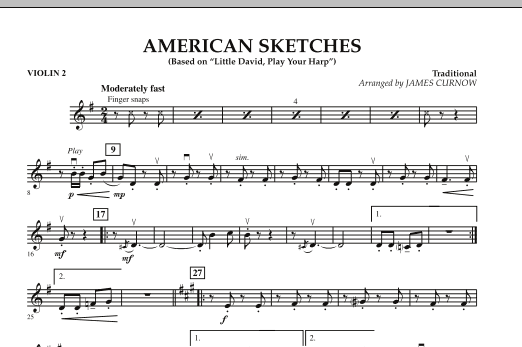 James Curnow American Sketches - Violin 2 sheet music notes and chords. Download Printable PDF.