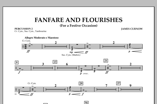 James Curnow Fanfare and Flourishes (for a Festive Occasion) - Percussion 2 sheet music notes and chords. Download Printable PDF.