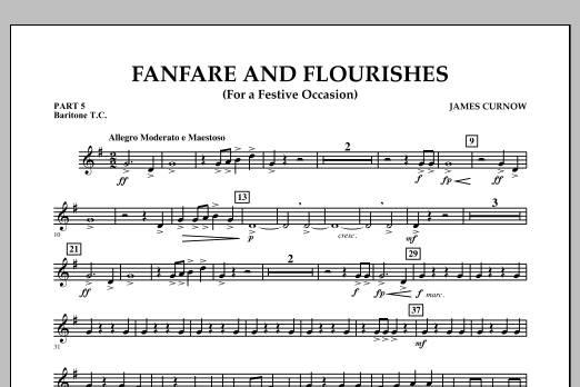 James Curnow Fanfare and Flourishes (for a Festive Occasion) - Pt.5 - Baritone T.C. sheet music notes and chords. Download Printable PDF.