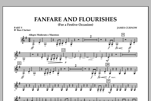 James Curnow Fanfare and Flourishes (for a Festive Occasion) - Pt.5 - Bb Bass Clarinet sheet music notes and chords. Download Printable PDF.