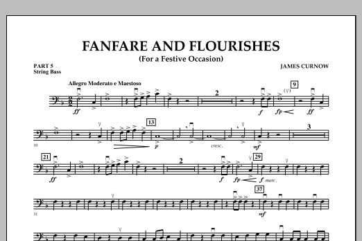 James Curnow Fanfare and Flourishes (for a Festive Occasion) - Pt.5 - String/Electric Bass sheet music notes and chords. Download Printable PDF.