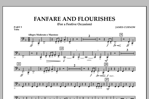 James Curnow Fanfare and Flourishes (for a Festive Occasion) - Pt.5 - Tuba sheet music notes and chords. Download Printable PDF.