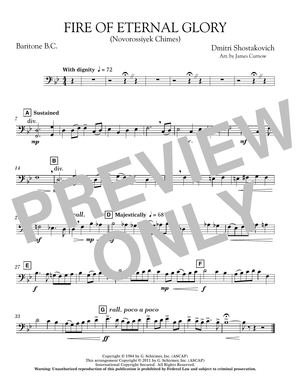 James Curnow Fire of Eternal Glory (Novorossiyek Chimes) - Baritone B.C. sheet music notes and chords. Download Printable PDF.