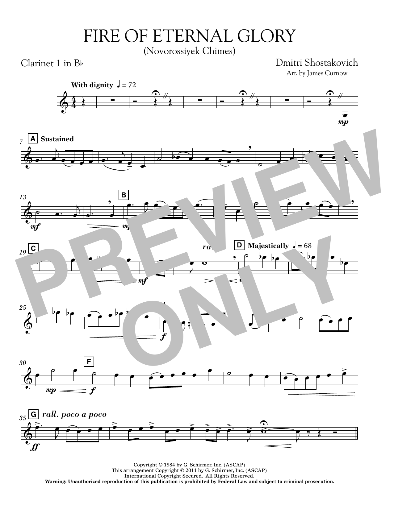 James Curnow Fire of Eternal Glory (Novorossiyek Chimes) - Bb Clarinet 1 sheet music notes and chords. Download Printable PDF.