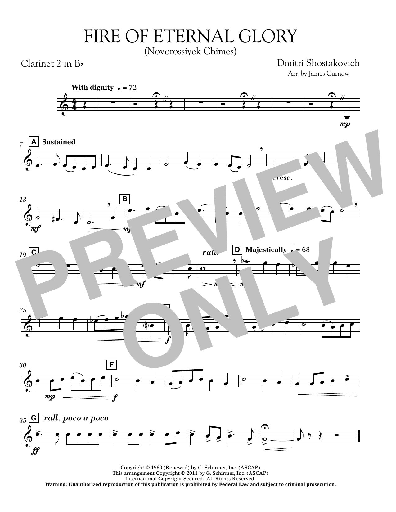 James Curnow Fire of Eternal Glory (Novorossiyek Chimes) - Bb Clarinet 2 sheet music notes and chords. Download Printable PDF.