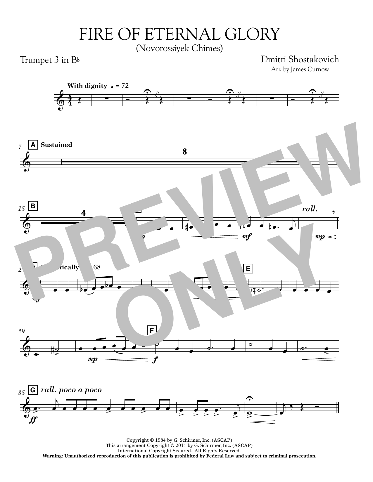 James Curnow Fire of Eternal Glory (Novorossiyek Chimes) - Bb Trumpet 3 sheet music notes and chords. Download Printable PDF.