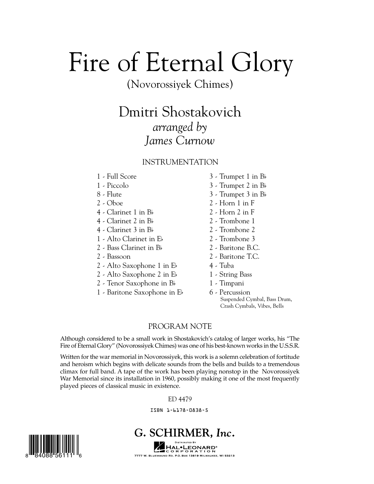 James Curnow Fire of Eternal Glory (Novorossiyek Chimes) - Conductor Score (Full Score) sheet music notes and chords. Download Printable PDF.