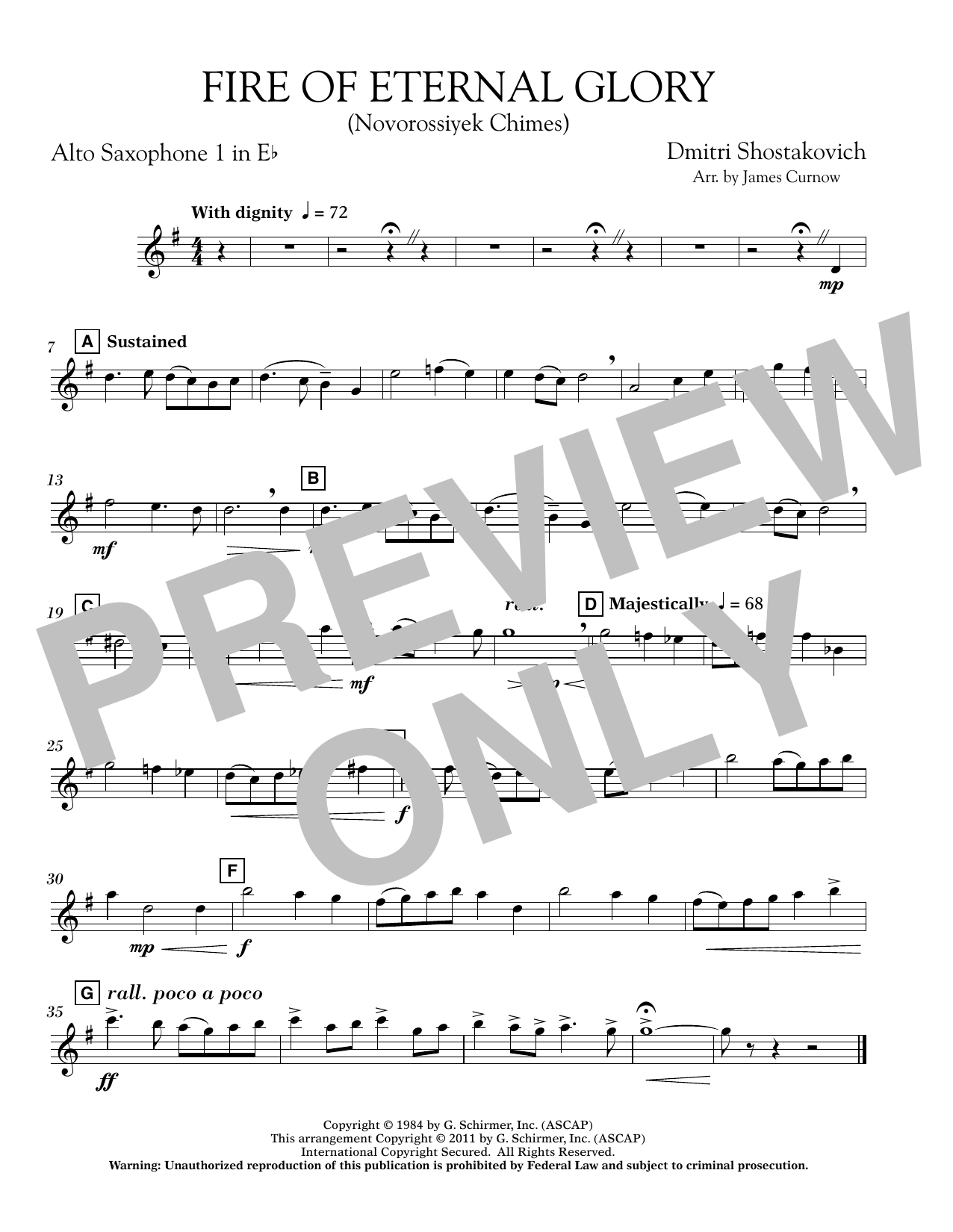 James Curnow Fire of Eternal Glory (Novorossiyek Chimes) - Eb Alto Saxophone 1 sheet music notes and chords. Download Printable PDF.