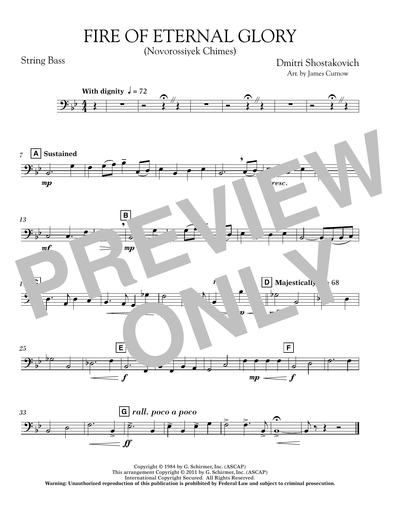 James Curnow Fire of Eternal Glory (Novorossiyek Chimes) - String Bass sheet music notes and chords. Download Printable PDF.