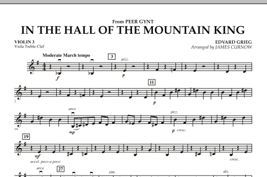 James Curnow In the Hall of the Mountain King - Violin 3 (Viola Treble Clef) sheet music notes and chords. Download Printable PDF.