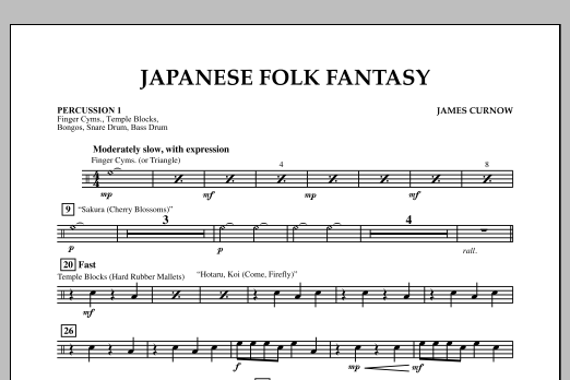 James Curnow Japanese Folk Fantasy - Percussion 1 sheet music notes and chords. Download Printable PDF.