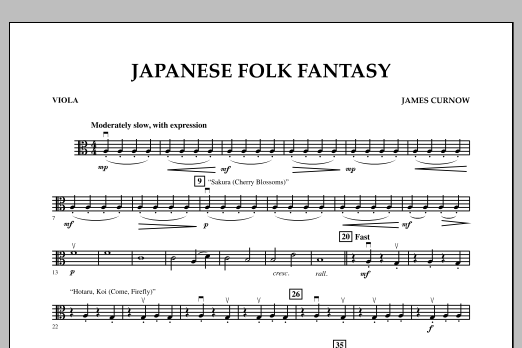 James Curnow Japanese Folk Fantasy - Viola sheet music notes and chords. Download Printable PDF.