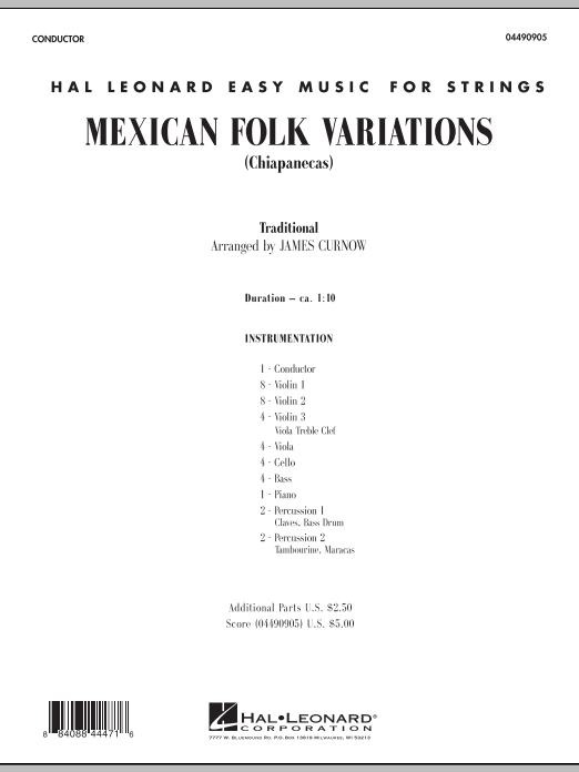 James Curnow Mexican Folk Variations - Full Score sheet music notes and chords. Download Printable PDF.