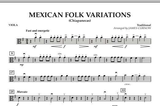 James Curnow Mexican Folk Variations - Viola sheet music notes and chords. Download Printable PDF.