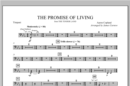 James Curnow The Promise Of Living (from The Tender Land) - Timpani sheet music notes and chords. Download Printable PDF.