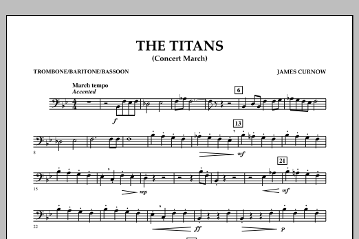 James Curnow The Titans (Concert March) - Trombone/Baritone B.C./Bassoon sheet music notes and chords. Download Printable PDF.