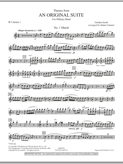 James Curnow Themes from An Original Suite - Bb Clarinet 1 sheet music notes and chords. Download Printable PDF.