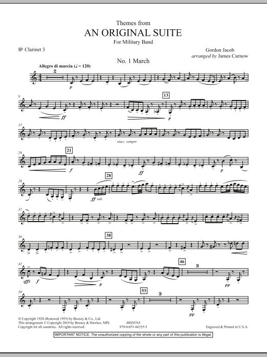 James Curnow Themes from An Original Suite - Bb Clarinet 3 sheet music notes and chords. Download Printable PDF.