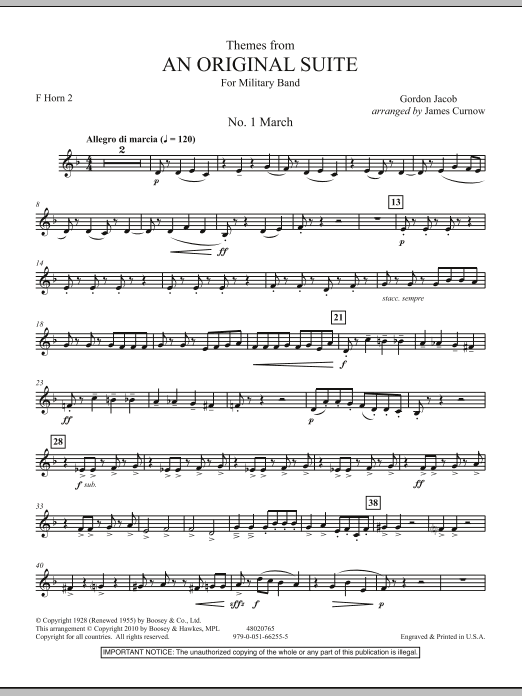 James Curnow Themes from An Original Suite - F Horn 2 sheet music notes and chords. Download Printable PDF.