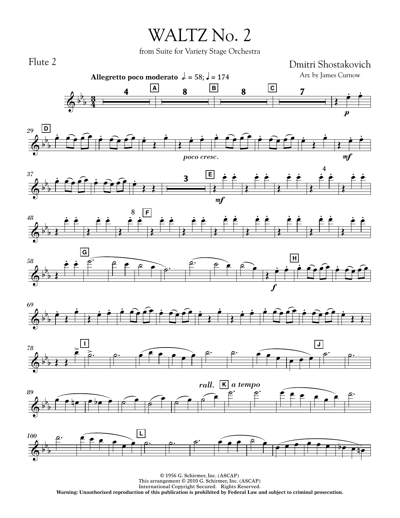 James Curnow Waltz No. 2 (from Suite For Variety Stage Orchestra) - Flute 2 sheet music notes and chords. Download Printable PDF.