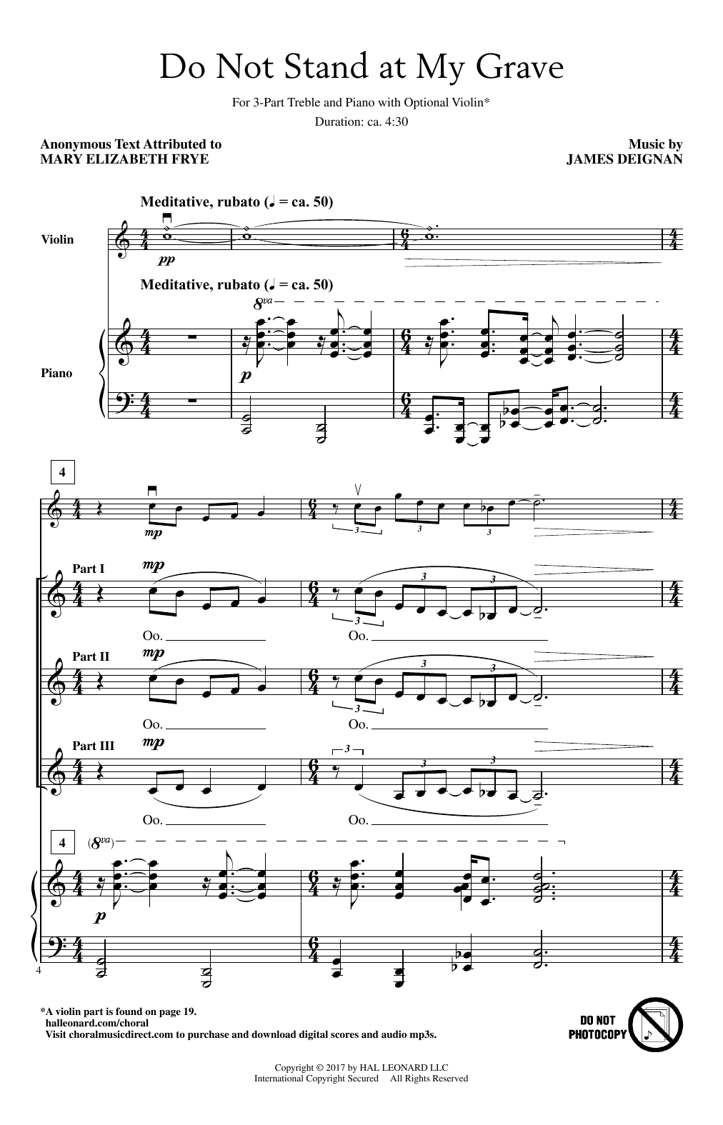 James Deignan Do Not Stand At My Grave sheet music notes and chords. Download Printable PDF.