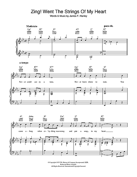 James F. Hanley Zing! Went The Strings Of My Heart sheet music notes and chords. Download Printable PDF.